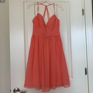 David's Bridal Coral Chiffon Dress
